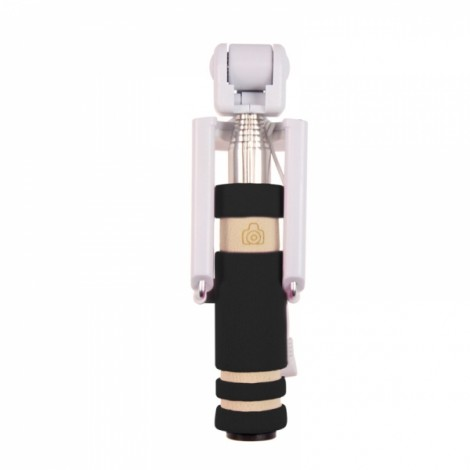 Mini Extendable Handheld Selfie Stick Wired Remote Shutter Monopod for IOS Android Phone Black
