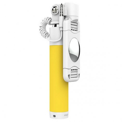 ROCK Universal Mini Selfie Holder Wired Stick Holder for IOS/ Android Phone Yellow