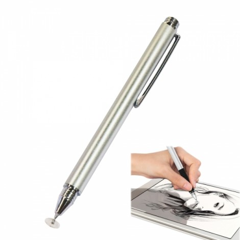 Mobile Phone Flat Panel Universal Touch Screen Capacitive Pen Stylus Pen Silver