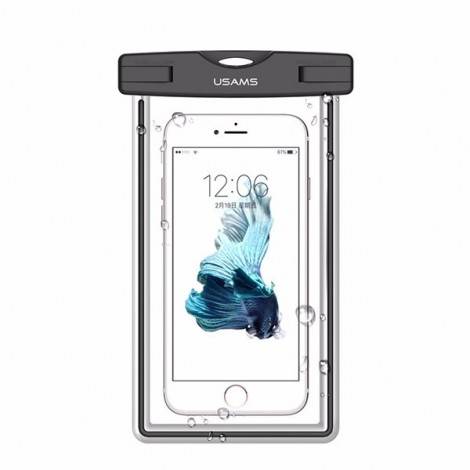 USAMS IPX8 Waterproof Case Touch Screen Luminous Transparent Window Dry Bag for Cellphone 5.5 inch Black