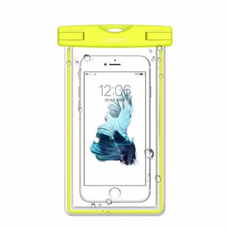 USAMS IPX8 Waterproof Case Touch Screen Luminous Transparent Window Dry Bag for Cellphone 5.5 inch Green