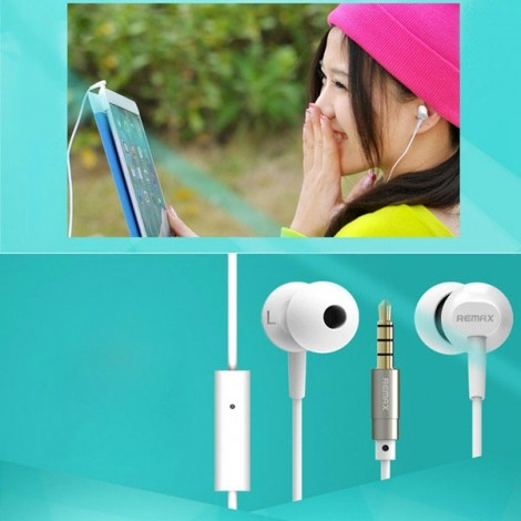 REMAX-RM501 Super Bass Stereo Wired Control Portable 3.5mm Headset with Microphone White