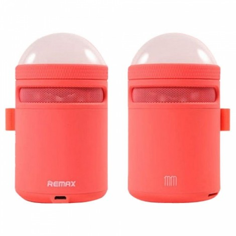 Remax Portable Bluetooth 4.0 Speaker Alarm Clock with LED Table Lamp Color Changing Mode for Cellphones Tablets Computers Laptops Red
