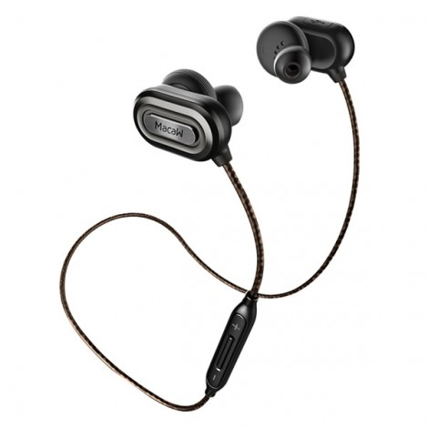 Macaw T1000 Sports Waterproof Wireless Bluetooth Earphones Gray