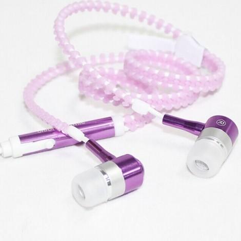 Glow In The Dark Glowing Luminous Light Metal Zipper Style 3.5mm Earphone Purple