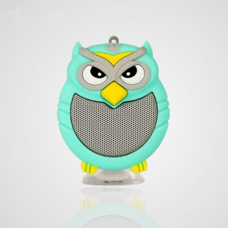 Owl Shaped Mini Bluetooth Speaker Stereo Heavy Bass Outdoor Loudspeaker with Sucker Phone Holder Light Green