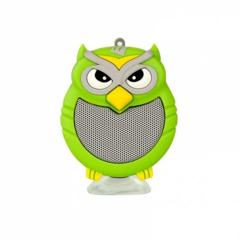 Owl Shaped Mini Bluetooth Speaker Stereo Heavy Bass Outdoor Loudspeaker with Sucker Phone Holder Green