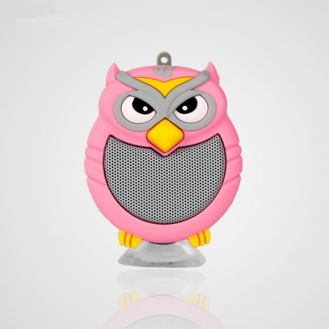 Owl Shaped Mini Bluetooth Speaker Stereo Heavy Bass Outdoor Loudspeaker with Sucker Phone Holder Pink