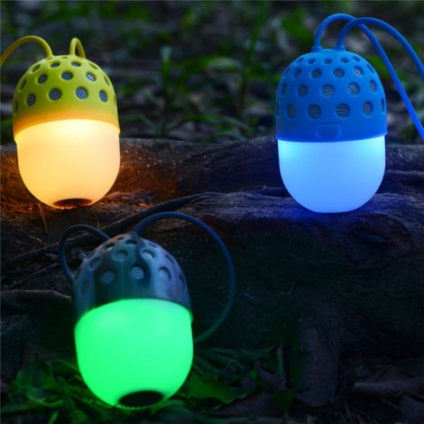 LED Colorful Mini Portable IPX4 Waterproof Hands-free Call Microphone Bluetooth Speaker Blue