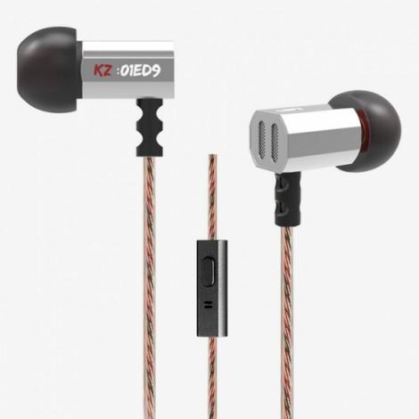 KZ-ED9 3.5mm In-ear Earphones Heavy Bass HIFI DJ Sport Stereo Headphone Earplug Silver with Mic