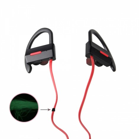 BH-4 New Music Smart Night Light Movement Bluetooth Headset Red & Black
