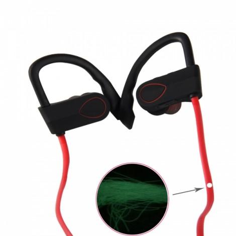 BH-3 New Music Smart Night Light Movement Bluetooth Headset Red & Black