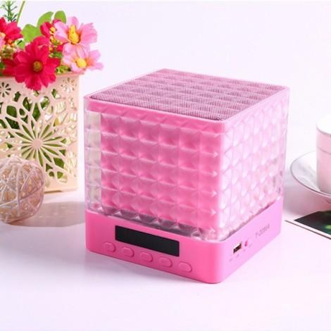 New Mini Cube Square LED Light Bluetooth Wireless Speaker Woofer Radio FM Handfree Portable Enceinte Bluetooth Portable Puissant Brown