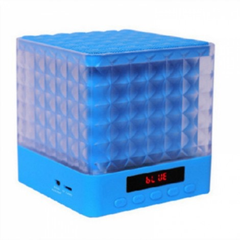 New Mini Cube Square LED Light Bluetooth Wireless Speaker Woofer Radio FM Handfree Portable Enceinte Bluetooth Portable Puissant Blue