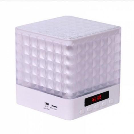 New Mini Cube Square LED Light Bluetooth Wireless Speaker Woofer Radio FM Handfree Portable Enceinte Bluetooth Portable Puissant White