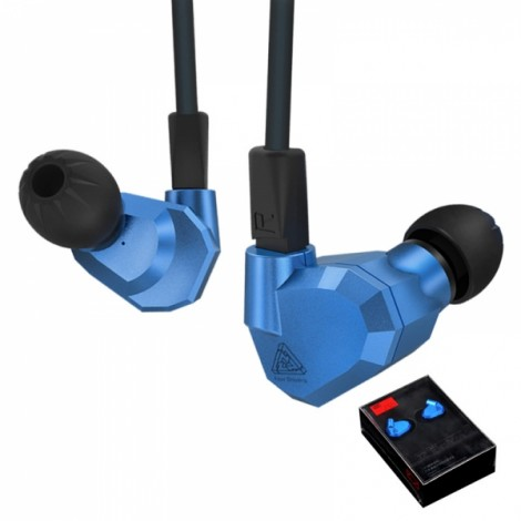 KZ ZS5 HIFI 8 Driver Double Balanced Armatures Double Dynamic Hybrid Headphone - Blue without Mic