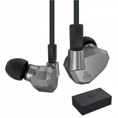 KZ ZS5 HIFI 8 Driver Double Balanced Armatures Double Dynamic Hybrid Headphone - Gray without Mic