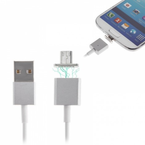 Cwxuan Micro USB Metal Magnetic Adhesion Charging Cable White (120cm)