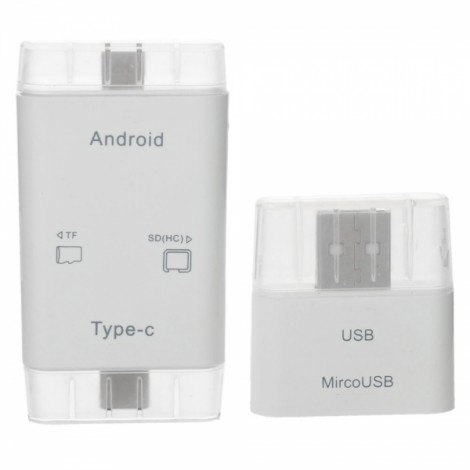 T-635 3-in-1 USB 3.1 Type-C  TF / SD Card Reader with USB 2.0 / Micro USB Adapter White