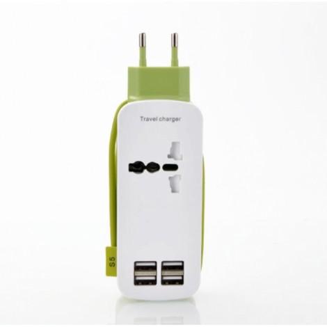 Universal 4 USB Ports 4A International Socket Travel Charger Socket EU Plug Green