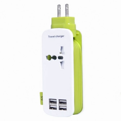 Universal 4 USB Ports 4A International Socket Travel Charger Socket US Plug Green