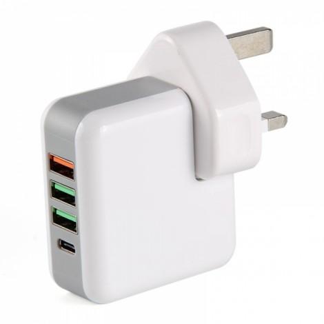 QC3.0 Multi-port USB Fast Charging Travel Direct Charger Adapter UK Plug