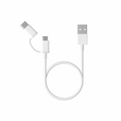 Xiaomi 30CM 2 in 1 Type-C & Micro USB Cable for Mobile Phone White