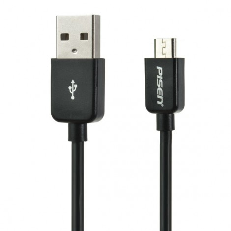 PISEN 2.4A Micro USB Charging Data Cable for Android Cellphones 0.8m Black