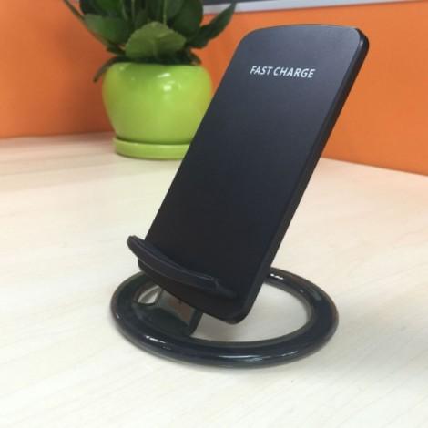 Fast Qi Wireless Desktop Charger Holder Dock for iPhone / Samsung - Black