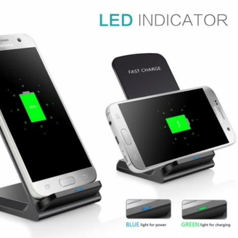 Qi Q740 Wireless Fast Charge 2 Coils 10W Desktop Charger Holder for iPhone / Samsung - Silver