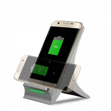 Qi Wireless Fast Charger Charging Stand Dock for Samsung Galaxy S8 iPhone 8 iPhone X - Silver