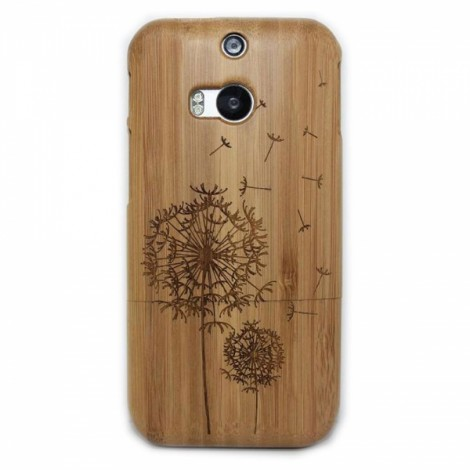 Dandelion Pattern Detachable Protective Wood Back Case for HTC M8 Brown