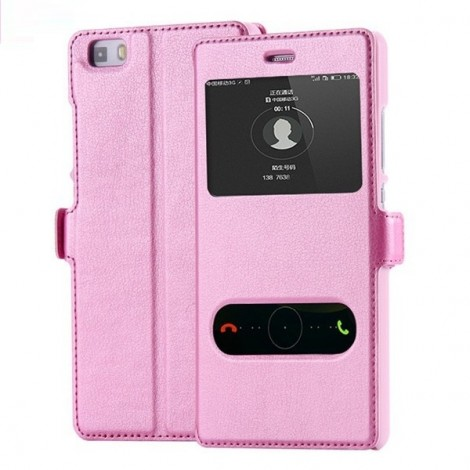 PU Leather Flip Open Smart Window Protective Case for Huawei Ascend P8 Lite Pink