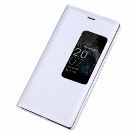 Smart View Auto Sleep Function Flip Cover Leather Case for Huawei Ascend P8 White