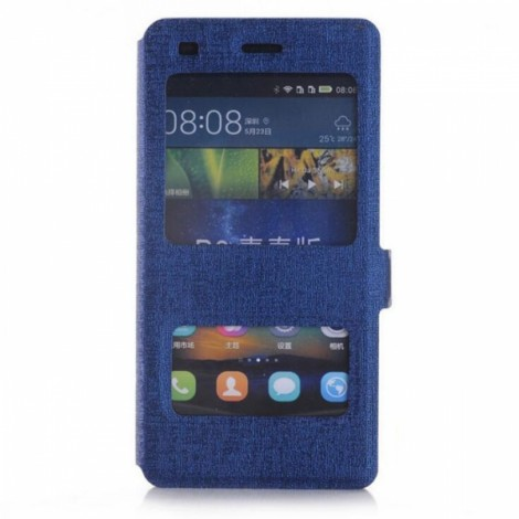 Smart Dual Viewing Windows Hard Back Case Protective Shell for Huawei P8 Lite Dark Blue