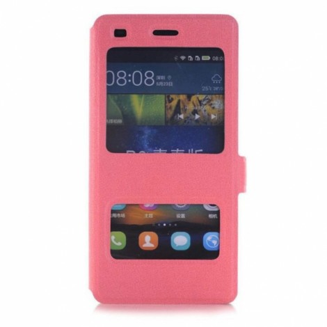 Smart Dual Viewing Windows Hard Back Case Protective Shell for Huawei P8 Lite Pink