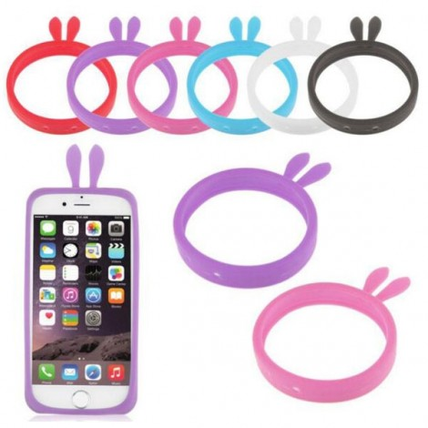 """Candy Color Rabbit Ears Shaped Universal Soft Bumper Case for 4.0-5.0"""" Mobile Phone Random Color"""
