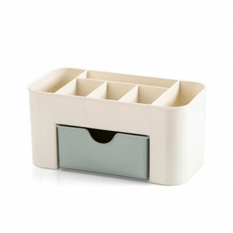 PP Plastic Cosmetic Storage Box Multi-functional Desktop Storage Box - Light Blue