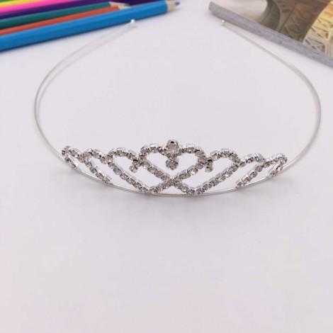 Heart Shaped Princess Rhinestone Tiara Crown FK4 Silver