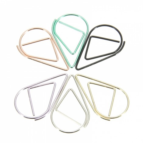 30 Pcs Colorful Metal Water Droplets Shape Paper Clips Office School Stationery Random (Black Green Yellow Silver Rose Gold Purple)