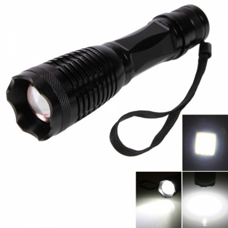 E6 T6 10W 5 Modes Focus Flashlight Torch Black