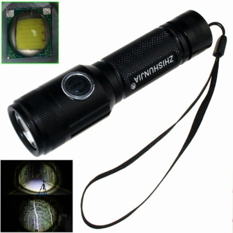 "ZSJ ZSJ208BT6  T6 1-LED ""900LM"" 5-Mode White Light Flashlight with Strap Black (1 x 18650)"
