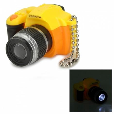 Camera Style LED White Flashlight Keychain w/ Sound Yellow & Orange & Multi-Colored