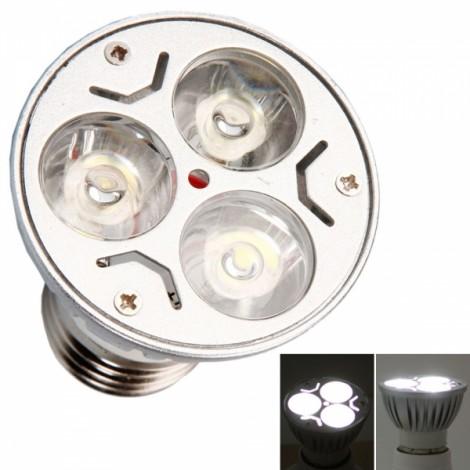 E27 3W 3 LED 300LM 6000K White Light Dimmable Spotlight Silver (110V)