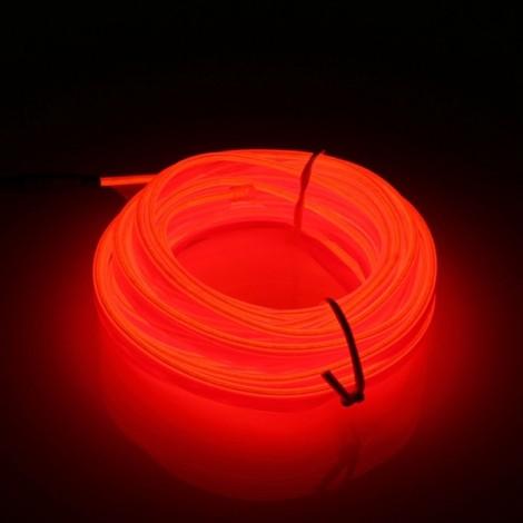 5M EL Led Strip Light Flexible Soft Tube Wire Neon Glow Car DC 12V Red