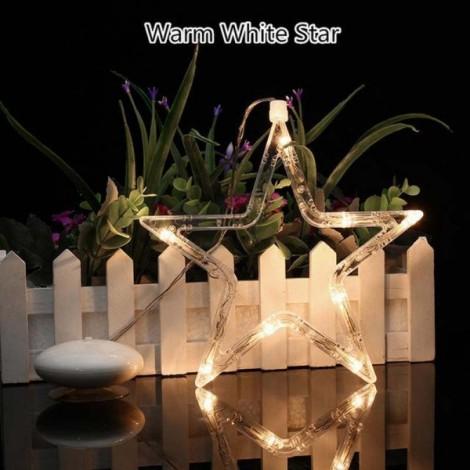 Star LED Christmas Decorative Hanging Light Window Sucker Lamp Warm White