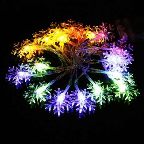 3M 20 LED Snowflake String Lights for Home Party Decoration Colorful