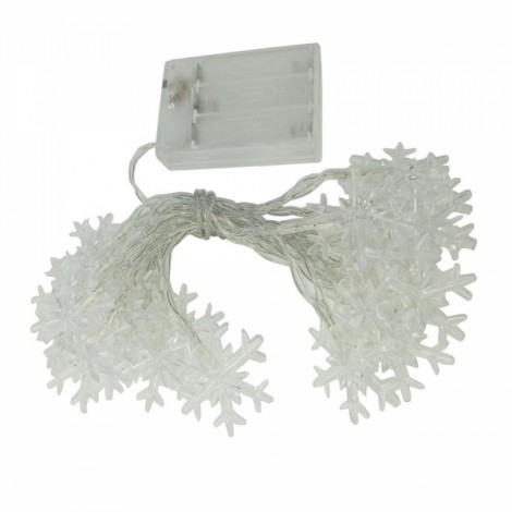 6M 40 LED Battery Powered Snowflake String Lights Warm White