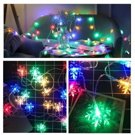 10M 80 LED Snowflake String Lights for Home Party Decoration Colorful