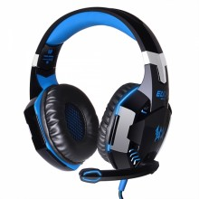 EACH G2000 Over-ear Headphone with Mic Stereo Bass LED Light for PC Game Black & Blue